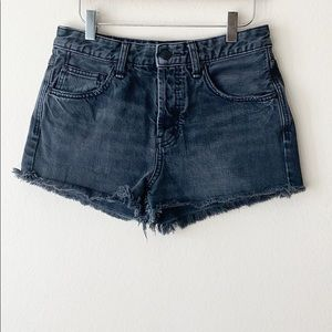 Free People Black Button Fly Cut Off Shorts